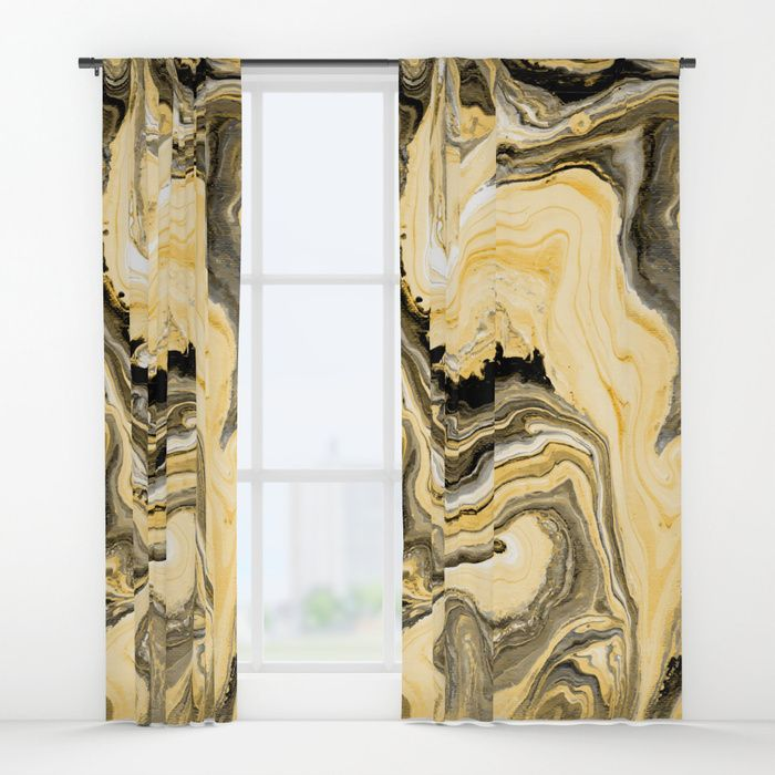 "Painted Gold curtains by Fimbis     Fluid art, painting, golden, marble, paint, interiors, interior design, fashionista,_______ Your drapes don't have to be so drab. Our awesome Window Curtains transform a neglected essential into an awesome statement piece. They're crafted with 100% lightweight polyester, and thick enough to block out some light. Position the curtain rod into the 4"" pocket and you're good to go. All curtains are a single-sided print and measure 50"" x 84"""