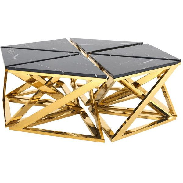 Eichholtz Galaxy Coffee Table Gold Set Of 6 (186.180 RUB) ❤ Liked On  Polyvore Featuring Home, Furniture, Tables, Accent Tables, Gold, Hexagon  End Table, ...
