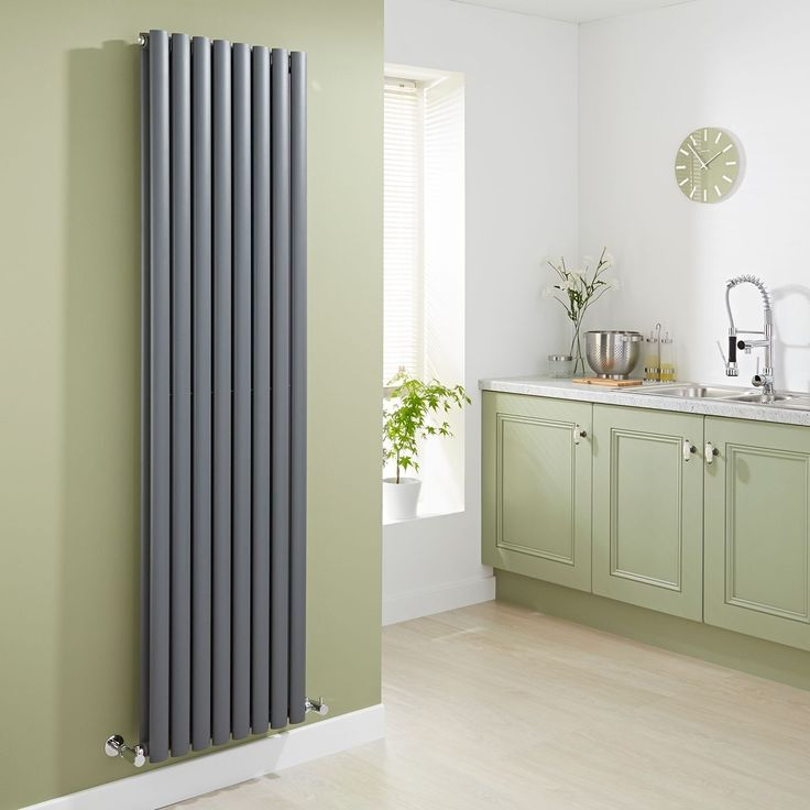 Milano Aruba - Anthracite Vertical Designer Double Radiator 1780mm x 472mm - Grey Anthracite Vertical Designer Radiator in green kitchen