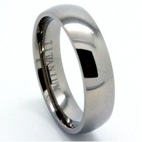 NICE!!! Blue Chip Unlimited - 6mm Domed Classic Titanium Unisex Wedding Band Engagement Ring (Available in Sizes 4-16) $29.95.