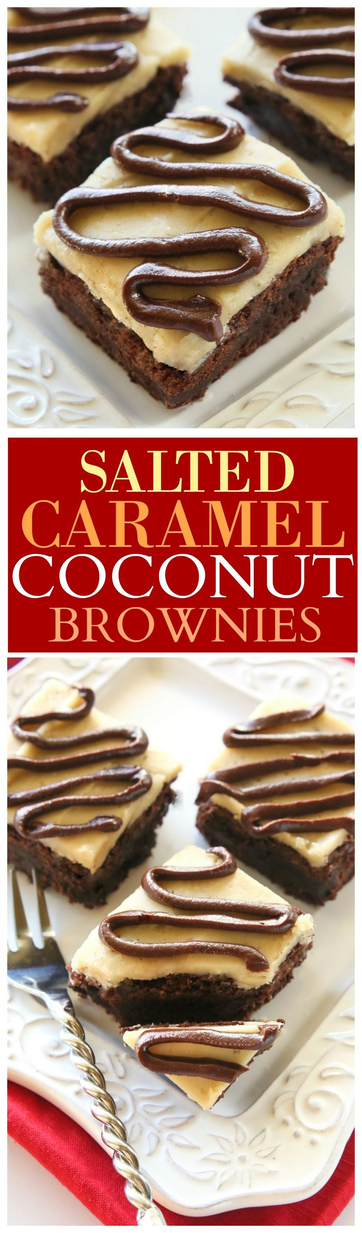 Salted Caramel Coconut Brownies - Moist, chewy coconut brownies with a salted caramel glaze and chocolate drizzle. the-girl-who-ate-everything.com