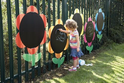 Outdoor Chalkboard Garden - how cool would this be??