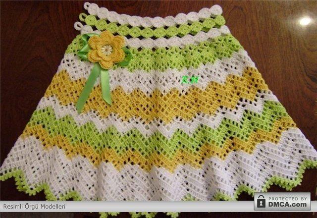 Renkli örgü bebek etekleri: Crafts For Kids, Crafts Ideas, Woman Fashion, Crochet Baby,  Dishcloth, Kids Crafts, Crochet Free Patterns, Crochet Skirts, Crochet Patterns Kids