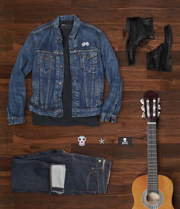 Get Twin Shadow's edgy rocker look. Start with a dark base: 511 slims & black tee. Add patches & boots. Top off with a Trucker Jacket. (Guitar optional.) #LiveInLevis