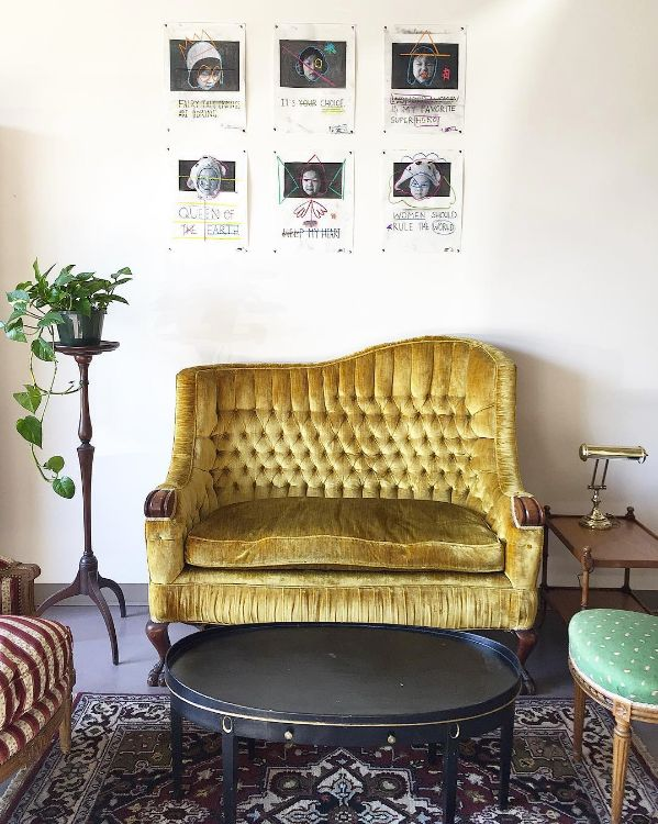 This Love Seat Is Lovely // Vintage Vibes Velvet Chic Mustard Yellow Sofa