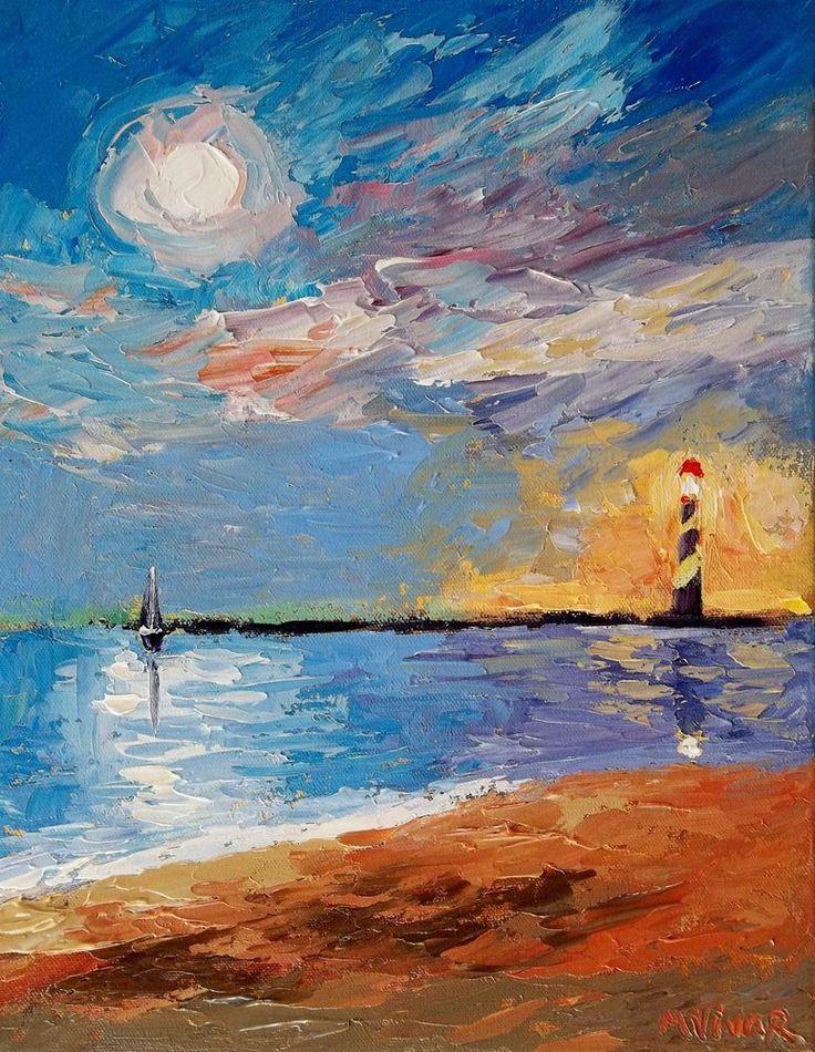 Mona Vivar Florida Sail Boat Moon Lighthouse Impasto Original Impressionist Art