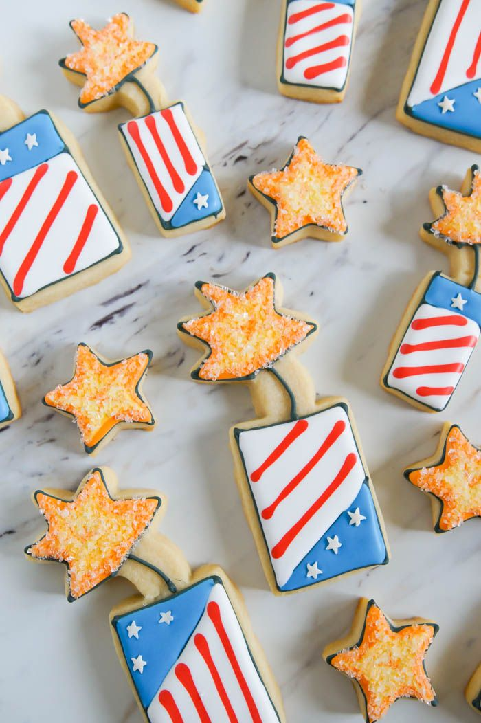 How to make Fourth of July Fireworks decorated cookies // Bake@350