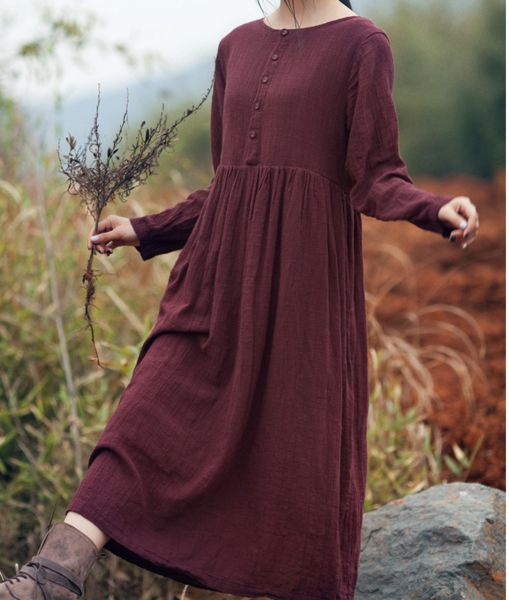 Cotton linen loose fitting maxi dress long sleeve - Tkdress  - 1