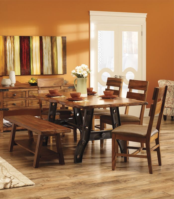 Give your dining room some edge! This #industrial #contemporary collection features a live edge design, adding style and character to your #dining space.