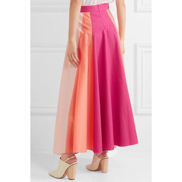 Peter Pilotto Asymmetric color-block cotton-poplin midi skirt (¥80,735) ❤ liked on Polyvore featuring skirts, pink polka dot skirt, yoke skirt, color block skirts, pink midi skirt and asymmetrical skirt