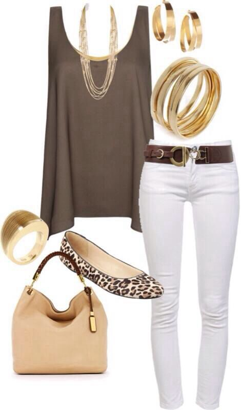 White , browns, gold outfit