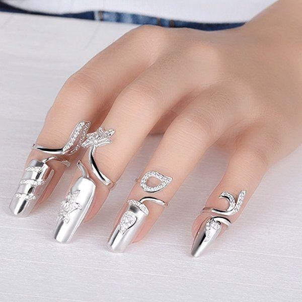 Opening Silver Ring Rhinestone Flower Nail Ring