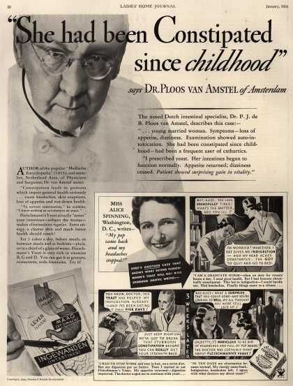 "she must've really been full of ""it""Constipation, Fleischmann Yeast, Standards Brand, Yeast 1934, Vintage Stuff, Childhood, Medicine, Vintage Ads, Vintage Advertising"