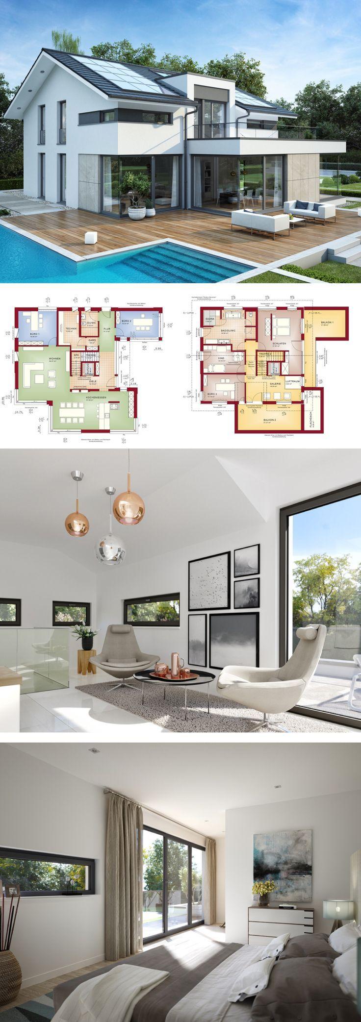 Design Haus modern mit Satteldach Architektur, Galerie & Büro Anbau – Einfamilienhaus bauen Grundriss Fertighaus Concept-M 211 Bien Zenker Hausbau Ideen – HausbauDirekt.de