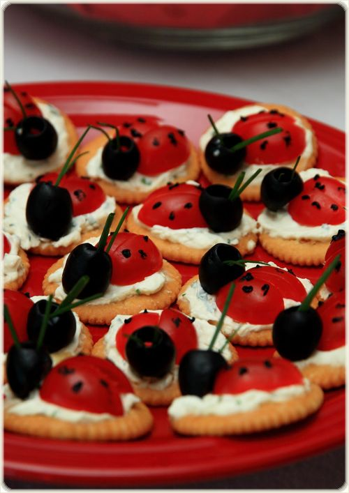 fun appetizers snacks ladybug tomato olives cream cheese