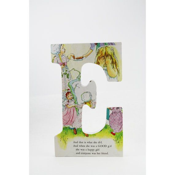 Golden book decoupage letter E Good Little by goldenMINEletters, $13.00