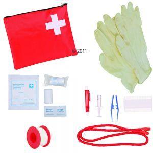 Set de primeros auxilios.  Siempre se debe tener a mano un botiquín de primeros auxilios para los casos de emergencia. Un botiquín con todo lo indispensable para curar a su mascota en caso de lesión.