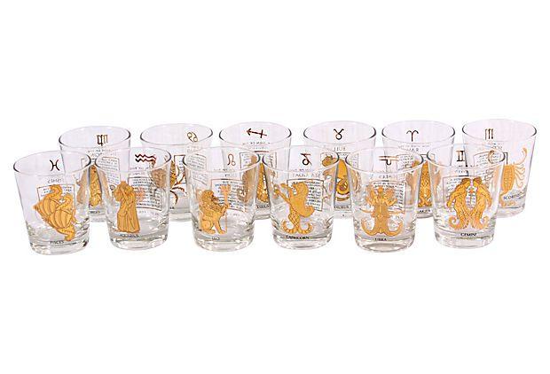 Zodiac Highball Glasses, S/12 on OneKingsLane.com