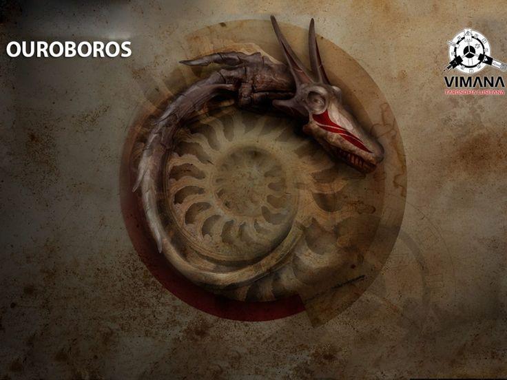 """Ouroboros (ou oroboro ou ainda uróboro) é um símbolo representado por uma serpente, ou um dragão, que morde a própria cauda. O nome vem do grego antigo: οὐρά (oura) significa """"cauda"""" e βόρος (boros), que significa """"devora"""". Assim, a palavra designa """"aquele que devora a própria cauda""""."""