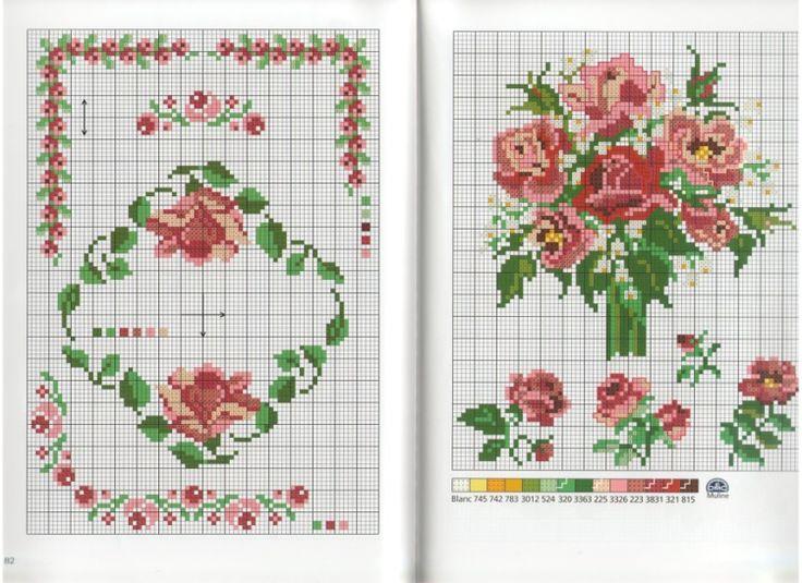 "186 best images about fleur-Roses-flower-point de croix-cross stitch on Pinterest | 41"", 98 and 57"""