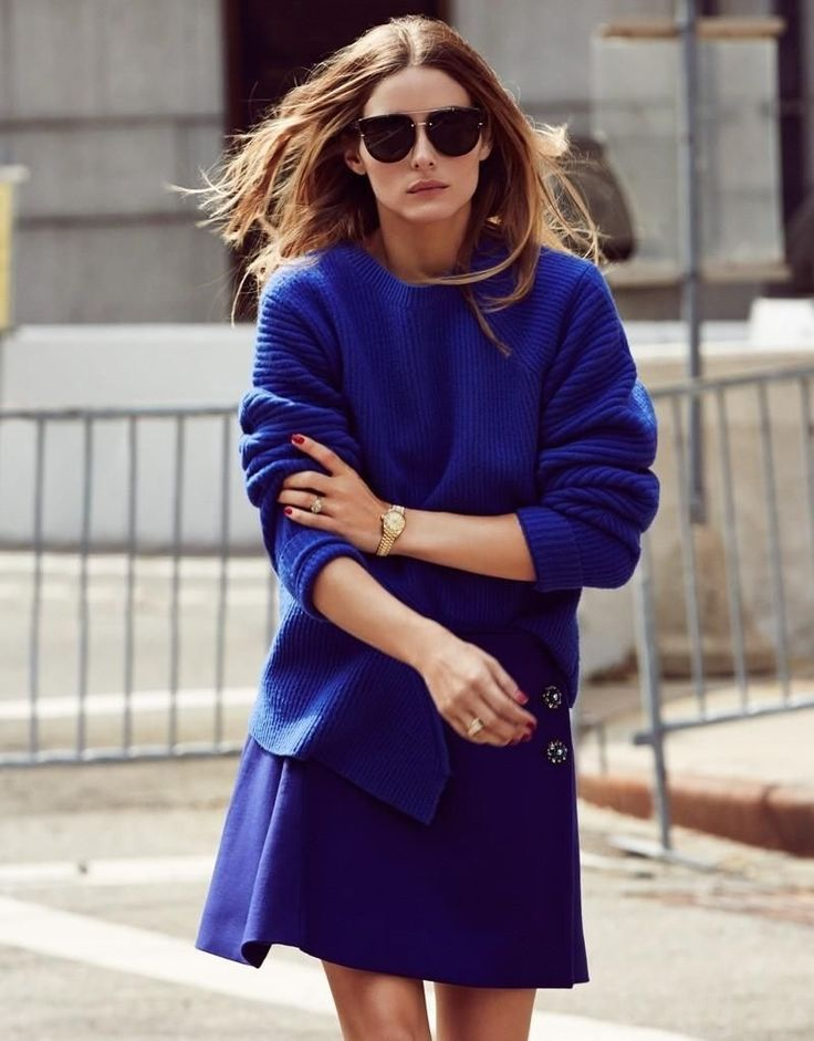 Une affaire de femmes -FlorenceEtta Cobalt blue jumper with cobalt blue skirt