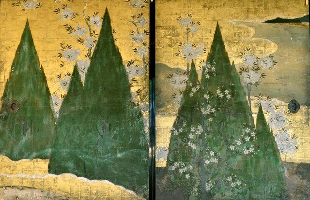 長谷川等伯一派筆「鉾杉図」(国重要文化財)。三角形の連なりがリズムを生む=京都市上京区の妙蓮寺、戸村登撮影