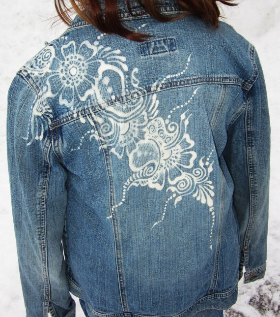 One-of-a-kind bleached henna design on a jean jacket.  Rock the bohemian style!  $40.00