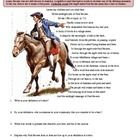 """This great, interactive worksheet has students reading an excerpt from Henry Wadsworth Longfellow's famous poem """"Paul Revere's Ride"""". As they read,..."""