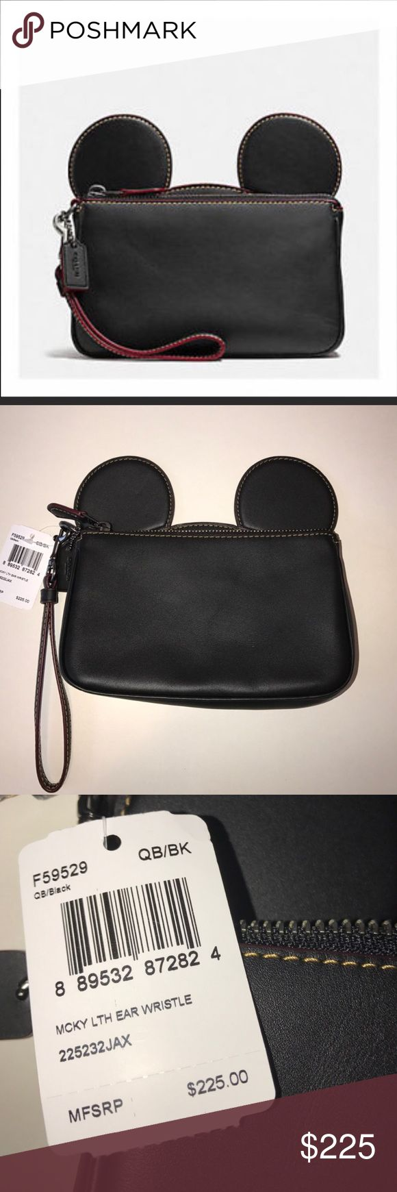 Mickey x Coach Black Ears Wristlet, New! Disney Beautiful black leather, limited release and sold out in stores, 7 x 5 x 2, fits an IPhone 7+, comes with the original Coach shopping bag. Disney Bags Clutches & Wristlets