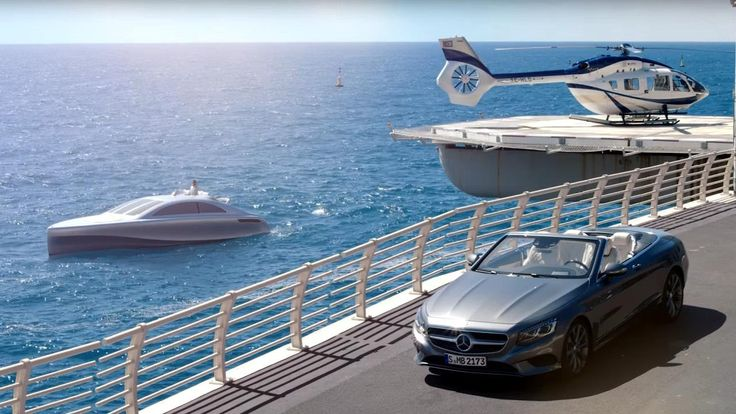 """Short film which brings Gottlieb Daimler's dream of mobility with the Mercedes star in the three dimensions of land, water and air into the modern era. Alongside the all-new motor yacht from Mercedes-Benz Style """"Arrow460-Granturismo"""", the protagonists of the film include the new S-Class Cabriolet, the first open-top luxury four-seater from Mercedes-Benz since 1971, and the exclusively appointed """"H145 Mercedes-Benz Style"""" helicopter from Airbus Helicopters."""