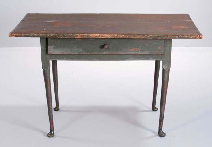 Skinner's 2961B 11/19/16 Lot: 53. Est: $4-6K. Sold: $4,613. Desc: Green-painted Tavern Table, New England, early 18th c., the rectangular overhanging top above a thumb-molded drawer & beaded straight apron joining block-turned tapering legs ending in pad feet, original surface, ht. 26, wd. 43, dp. 24 in. Provenance: acquired by the present owner at Skinner, February 18, 2008.