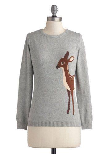 Fawn-semble Sweater by Sugarhill Boutique - Mid-length, Cotton, Knit, Grey, Brown, Print with Animals, Darling, Long Sleeve, International D...