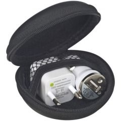 Travelling set with EU plug and USB car charger (38746)