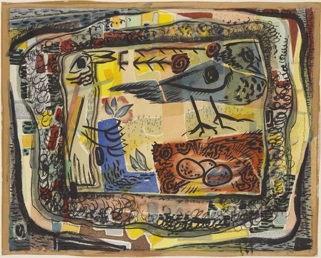 Birds in a Field by Jock MacDonald
