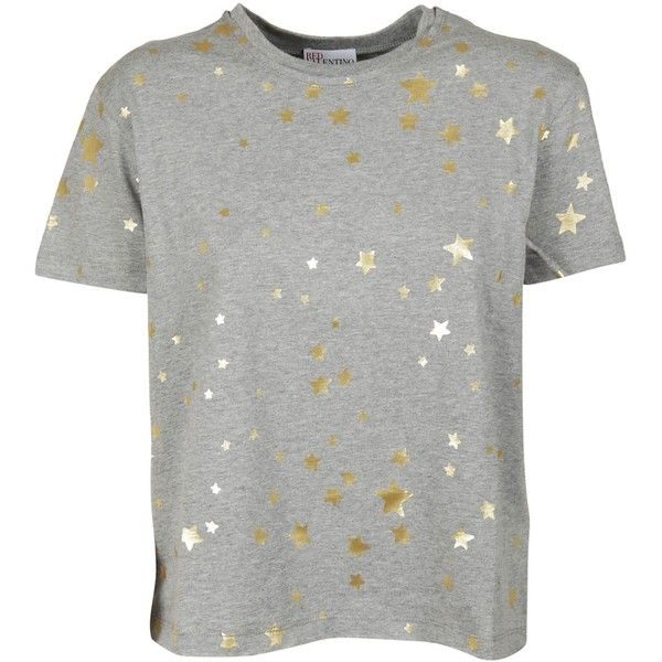 Star Print T Shirt ($126) ❤ liked on Polyvore featuring tops, t-shirts, grey, short sleeve tee, cotton t shirts, gray t shirt, red valentino top and short sleeve t shirt