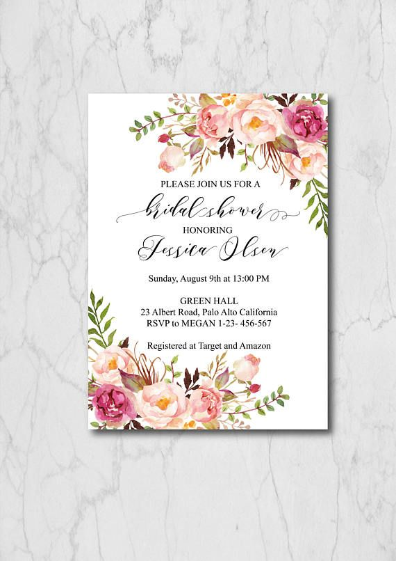 Boho Chic Bridal Shower Invitation Template, Blush Floral Bridal Shower Invites, Rustic Bridal Shower Invitation Printable, 015