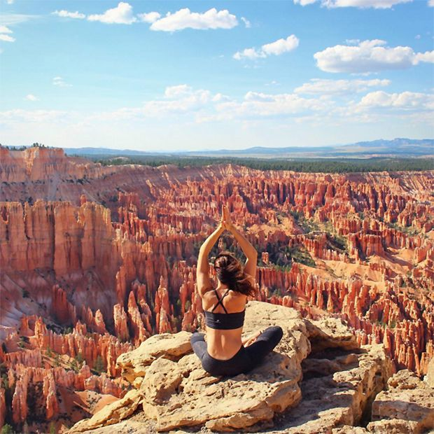"""Sitting here made me feel so small, but so connected to the earth,"" the yogi writes of her moment of stillness near Bryce Canyon in southern Utah. - The 25 Most Epic Yoga Pics Worldwide"