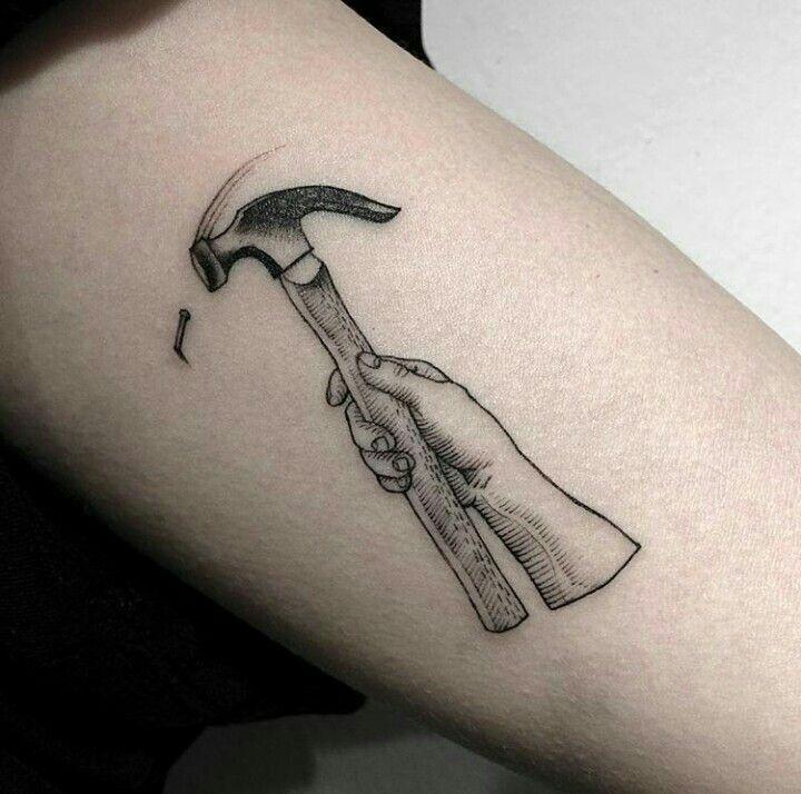 By Oozy Tattoo | Korea | #Hammer #Blackwork #BlackworkTattoo #Woodcut #Tattoo