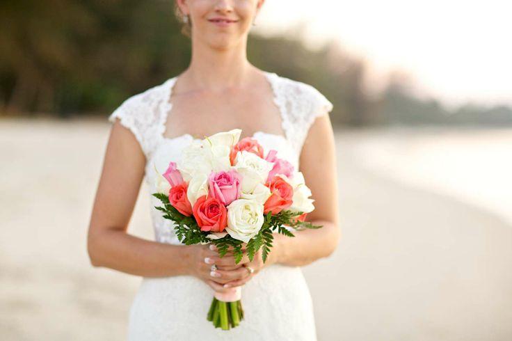 Jo's beautiful bouquet of pink, orange and cream roses. Faraway Beach weddings Thailand