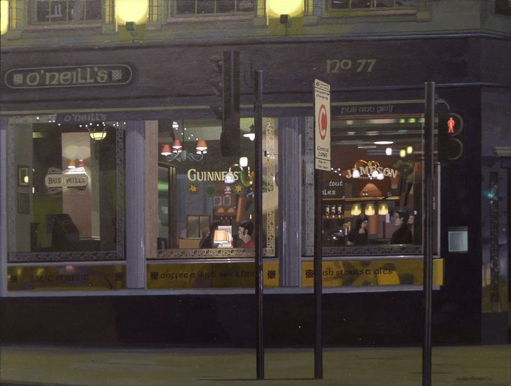 "25.10.2014 ""O'Neill's Euston Road, London"" acrylic on wood panel 44 cm x 58 cm, 17,1/4 x 22,7/8"". by Antti Rytkönen"