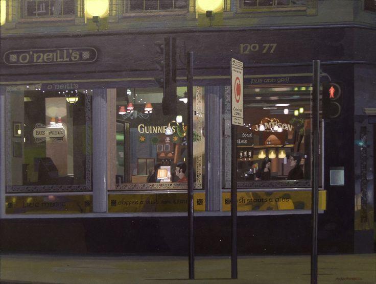 "25.10.2014 ""O'Neill's Euston Road, London"" acrylic on wood panel 44 cm x 58 cm, 17,1/4 x 22,7/8"". by Antti Rytkönen"