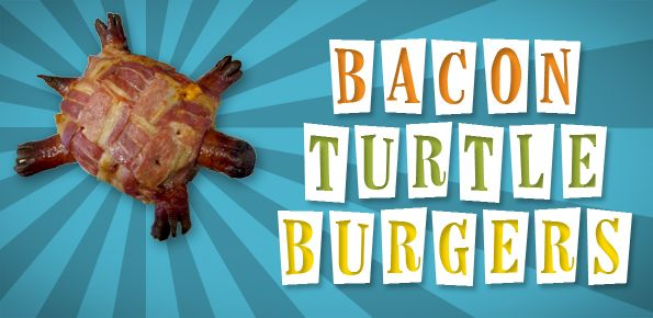 Bacon Turtle Burger recipe. This is SO delicious...no need for a bun and it's perfect food-craft for little kiddies and for every adult's inner food-child lol!! My choices for cheese: garlic, gouda, havarti, or any strong cheese. Instead of hotdogs, I use sausages (Polish, Kielbasa, or anything with a nice smoky flavor). <3
