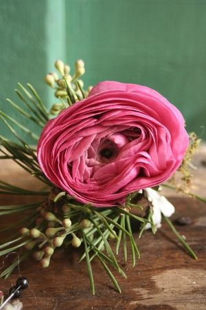 Ranunculus in a Winter theme boutonniere