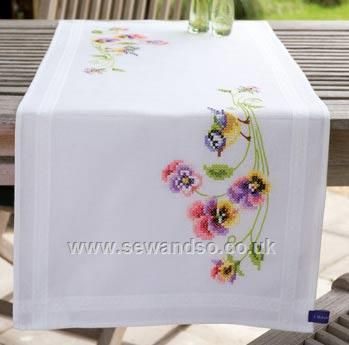 Buy Little Bird and Pansies Tablecloth, 40 x 100cm Stamped Cross Stitch Kit Online at www.sewandso.co.uk