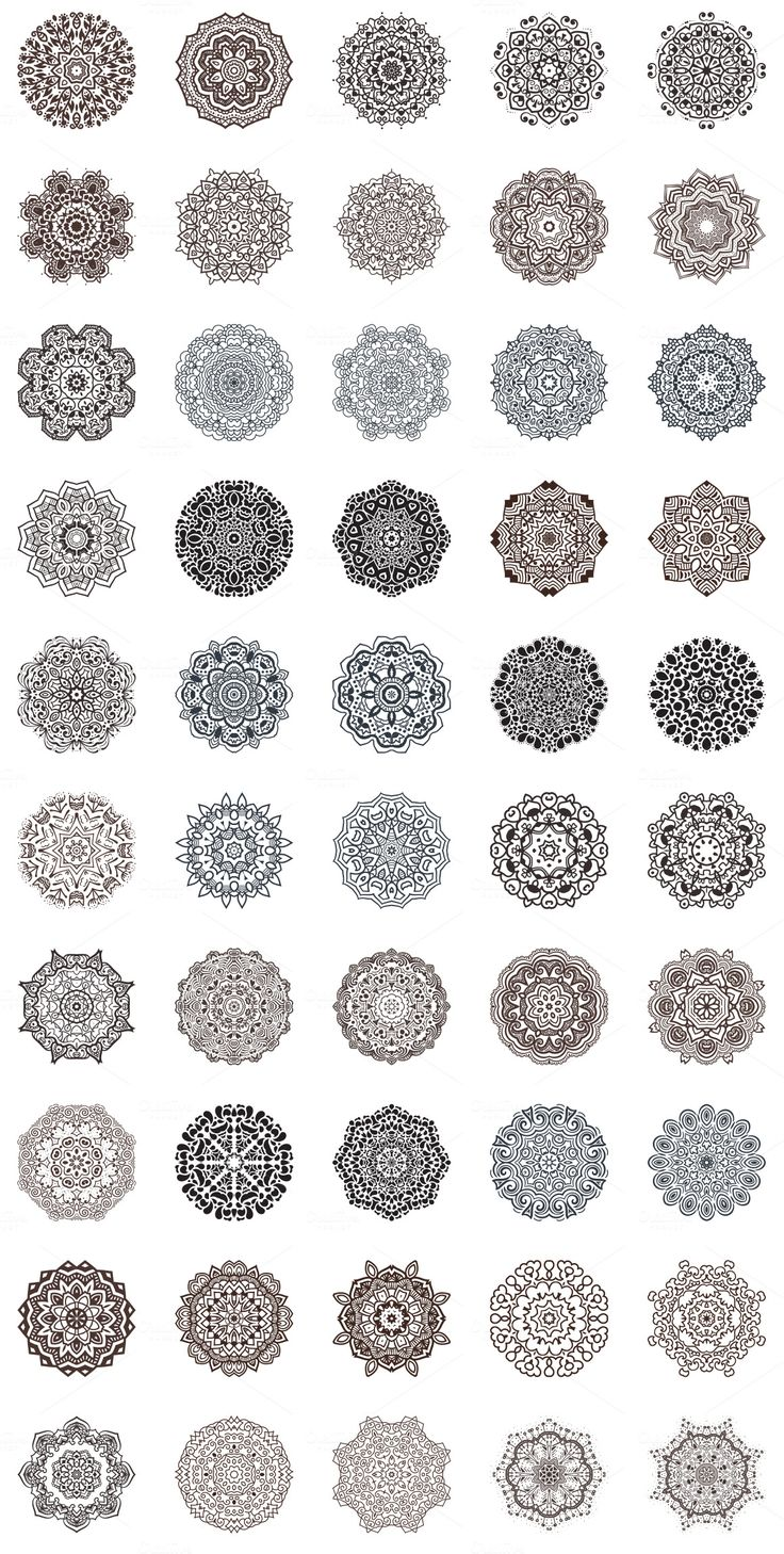 100 Vector Mandalas, Round Ornament Illustrations, floral pattern collection