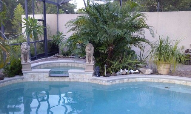 Lion statues guarding the pool.