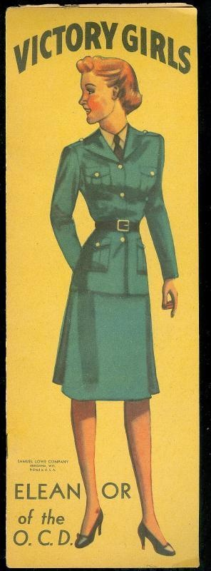 1940s Victory Girls N Uniform - Eleanor of The Office of Civil Defense paper doll book - Samuel Lowe Co. Created for little girls to understand the need to support the armed forces.
