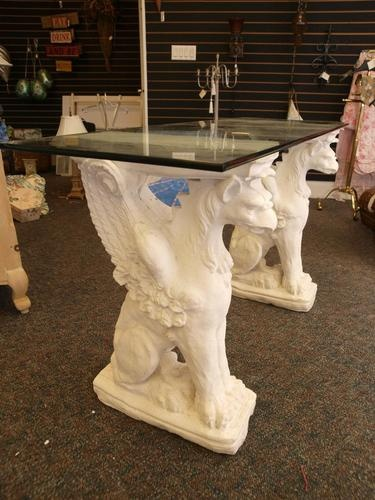 Awesome Gothic Glass Top Stone Griffin Table As Desk! Or Sideboard