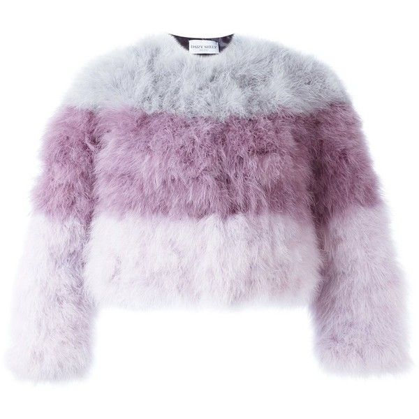Daizy Shely striped fur jacket ($1,241) ❤ liked on Polyvore featuring outerwear, jackets, fur jacket, feather jackets, pattern jacket, colorful jackets and purple fur jacket