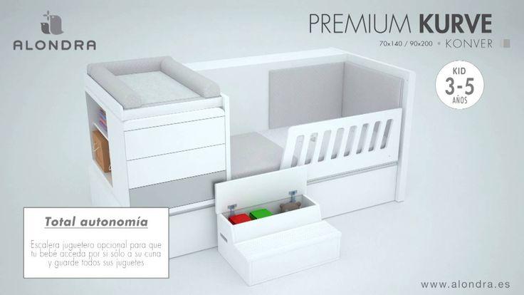 Transformación de la cuna convertible Premium Kurve de Alondra. De cuna a habitación infantil completa con cama, mesita, box estantería y escritorio.